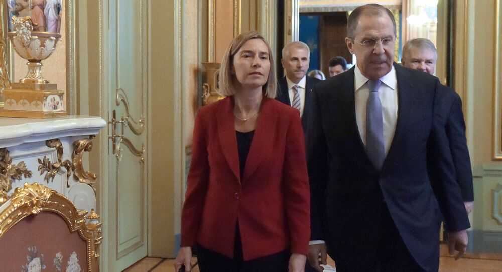 Russia's Foreign Minister Sergei Lavrov meets with European Commission's Vice President Federica Mogherini