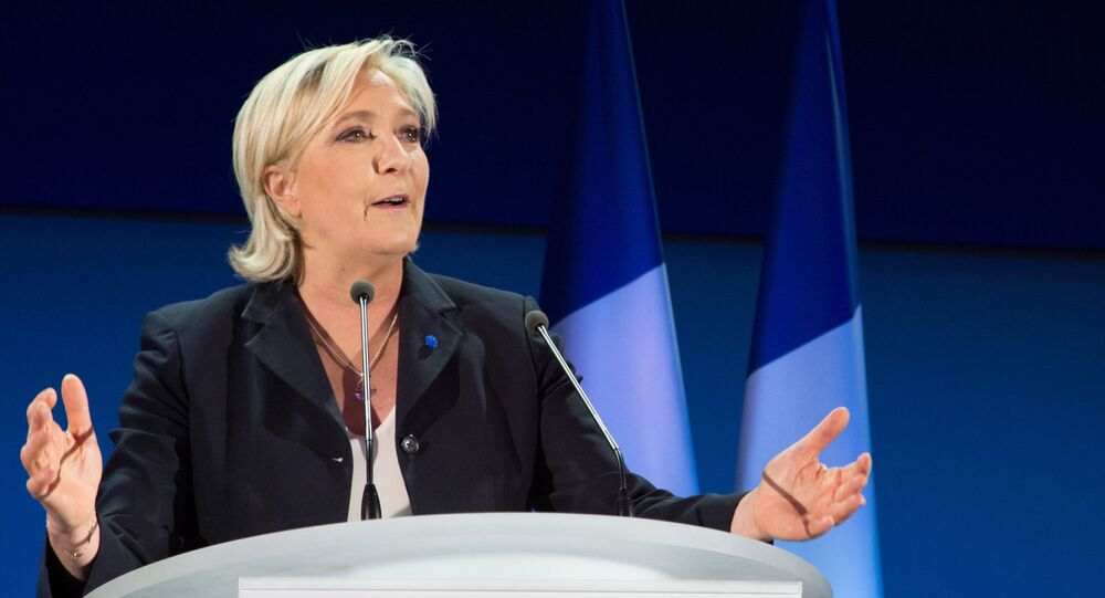 Marine Le Pen, French presidential candidate and leader of the National Rally political party, during a news conference after the first round of voting in the election.