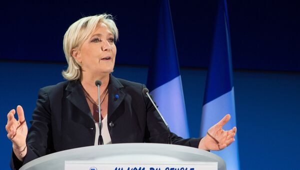 Marine Le Pen, French presidential candidate and leader of the political party the National Front, during a news conference following the first round of the presidential election. - Sputnik International