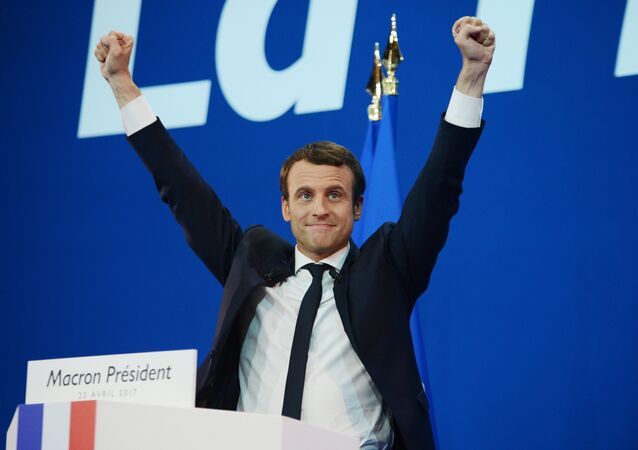 Emmanuel Macron, French presidential candidate and leader of the movement En Marche!, during a news conference following the first round of the election.