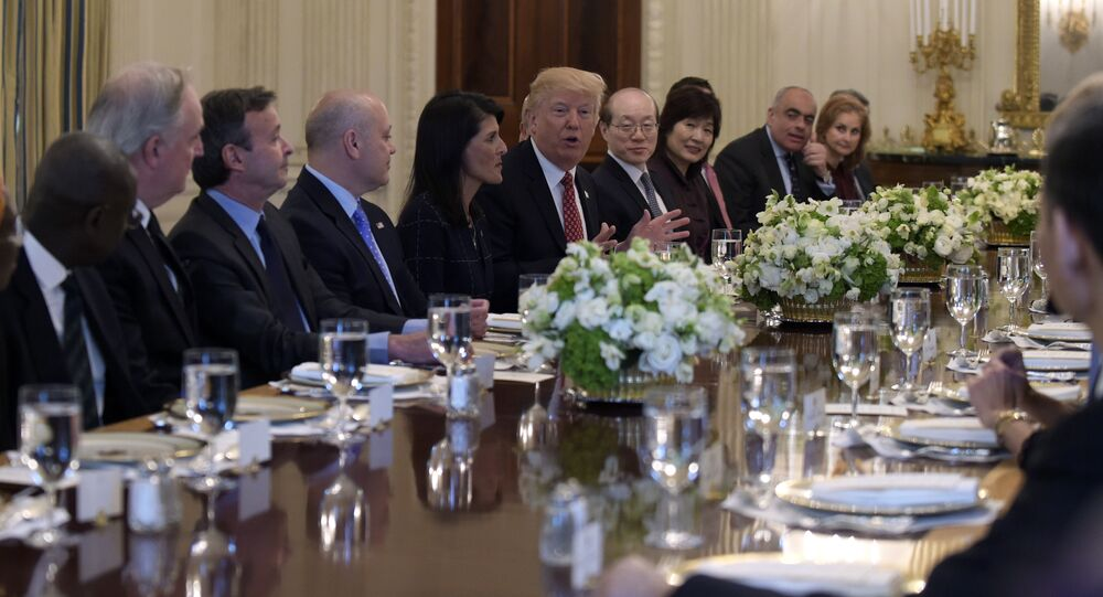 President Donald Trump, sitting next to U.S. Ambassador to the UN Nikki Haley, speaks during a working lunch with ambassadors of countries on the United Nations Security Council and their spouses in the State Dining Room of the White House in Washington