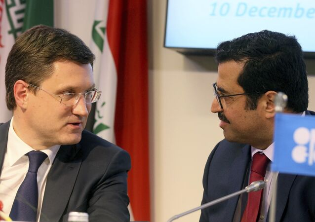 Russian Minister of Energy Alexander Novak, left, and Mohammed Bin Saleh Al-Sada, Minister of Energy and Industry of Qatar and President of the OPEC Conference attend a news conference after a meeting of the Organization of the Petroleum Exporting Countries, OPEC, at their headquarters in Vienna, Austria, Saturday, Dec. 10, 2016