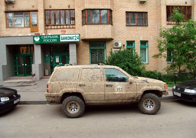 A mud-stained car