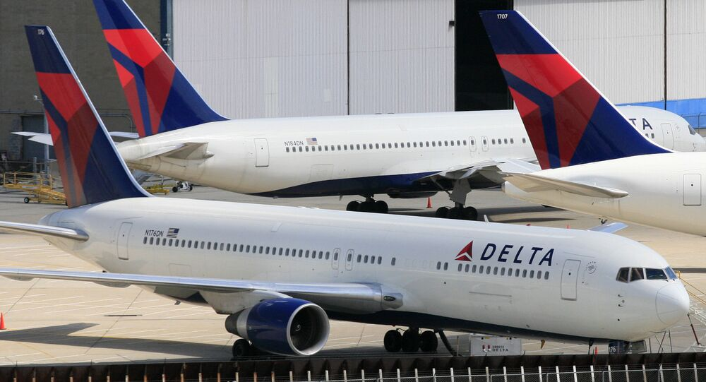 Delta Air Lines jets parked at John F. Kennedy International Airport