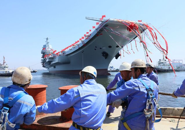 China's first domestically built aircraft carrier is seen during its launching ceremony in Dalian, China April 26, 2017