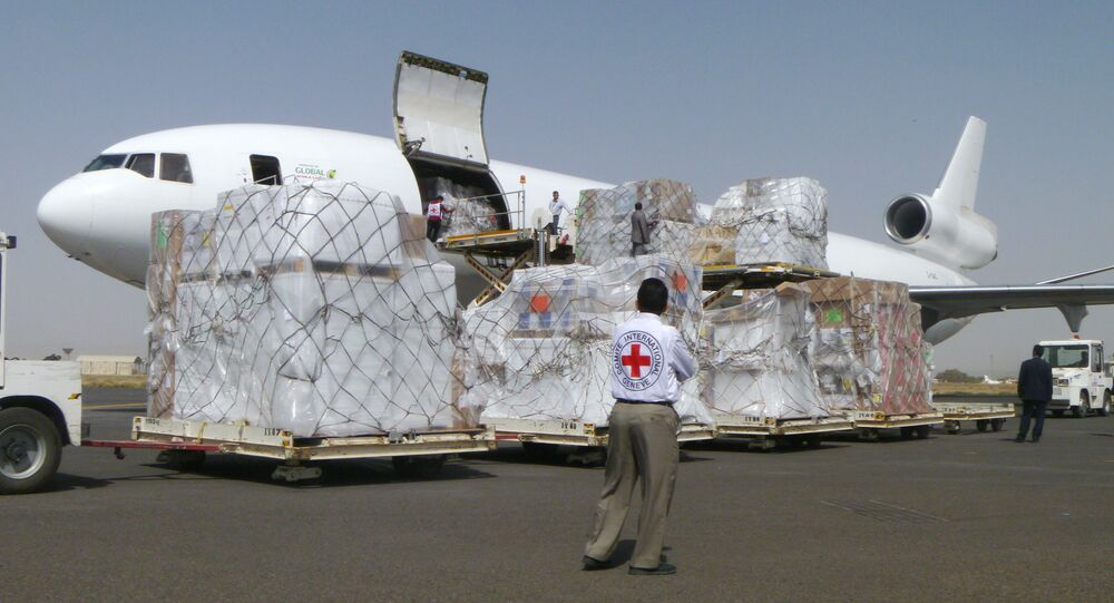 International Committee of the Red Cross workers unload a cargo plane carrying humanitarian relief supplies for civilians  at the airport in Sanaa, Yemen (File)