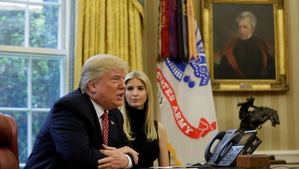 U.S. President Donald Trump and his daughter Ivanka hold a video conference call with Commander Peggy Whitson and Flight Engineer Jack Fischer of NASA on the International Space Station from the Oval Office of the White House in Washington, U.S., April 24, 2017 - Sputnik International