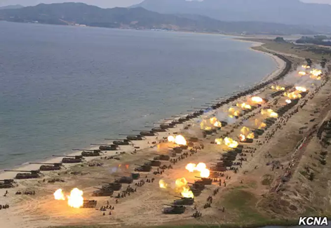 A military drill marking the 85th anniversary of the establishment of the Korean People's Army