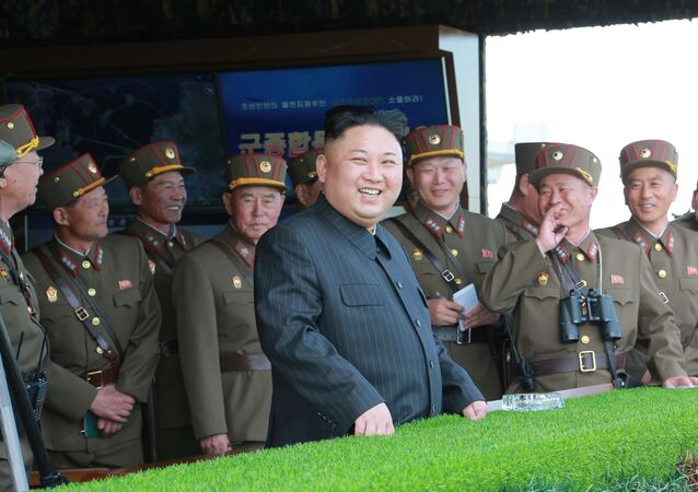 North Korea's leader Kim Jong Un watches a military drill marking the 85th anniversary of the establishment of the Korean People's Army (KPA) in this handout photo by North Korea's Korean Central News Agency (KCNA) made available on April 26, 2017