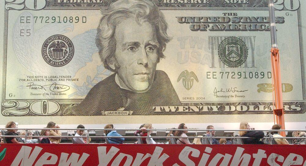 a billboard displaying the new twenty dollar bill