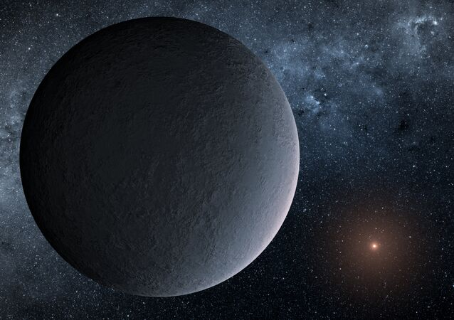 This artist's concept shows OGLE-2016-BLG-1195Lb, a planet discovered through a technique called microlensing