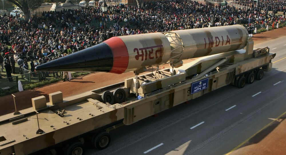 Indian Army Agni III missile model goes past, during full dress rehearsal of Republic Day Parade in New Delhi, India (File)