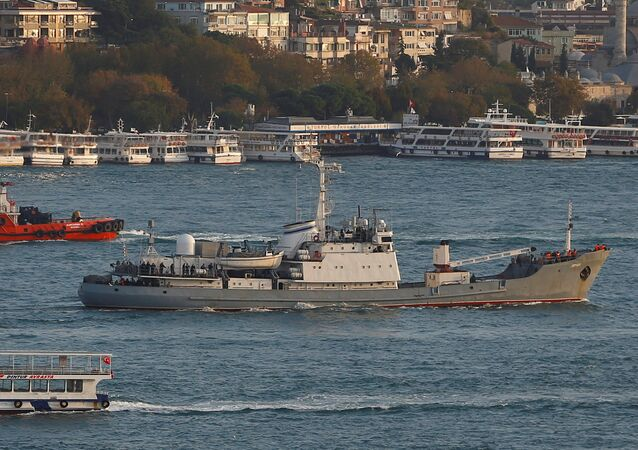 Russian Navy's reconnaissance ship Liman of the Black Sea fleet sails in the Bosphorus, on its way to the Mediterranean Sea, in Istanbul, Turkey, October 21, 2016
