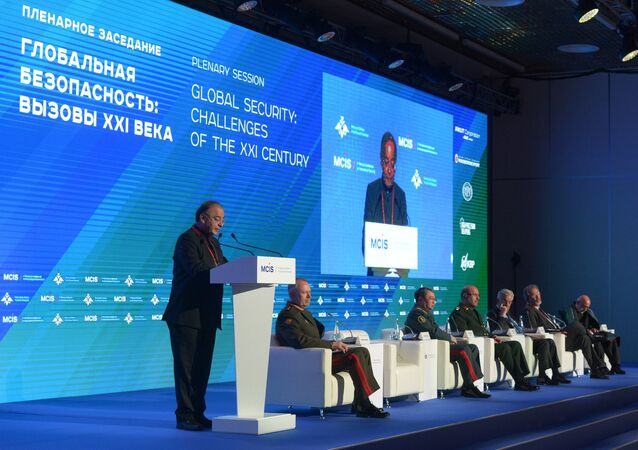 Defense Minister of India Arun Jaitley speaks at the 6th Moscow Conference on International Security