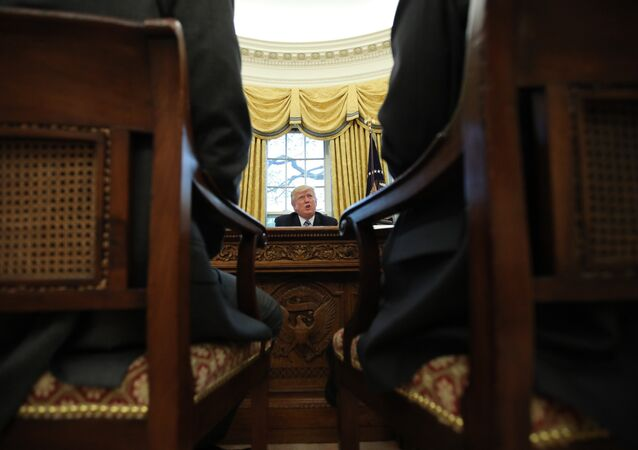 U.S. President Donald Trump speaks during an interview with Reuters in the Oval Office of the White House in Washington, U.S., April 27, 2017