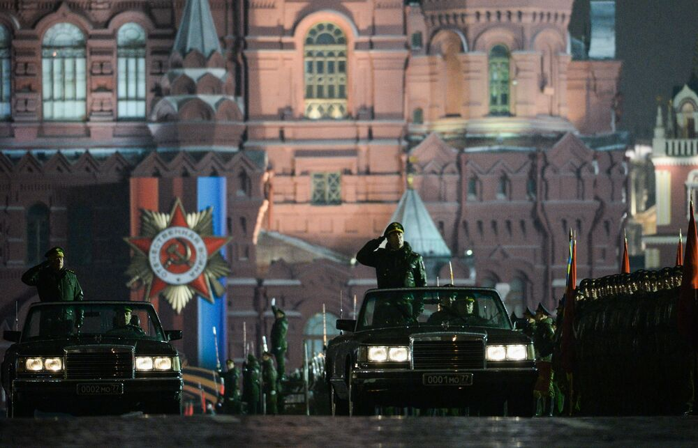 Night Rehearsal of the Victory Day Military Parade in Moscow
