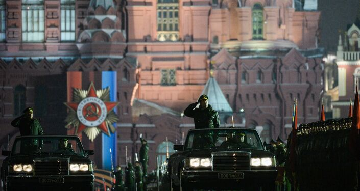 Moscow, Russia. The car of the Russian Defense Minister takes part in a Victory Day parade rehearsal on Red Square.