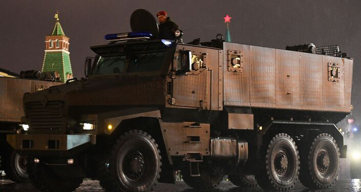 Moscow, Russia. A Typhoon-U armored truck takes part in a Victory Day parade rehearsal on Red Square in the run-up to the 72nd anniversary of the Soviet Union's victory in the Great Patriotic War.