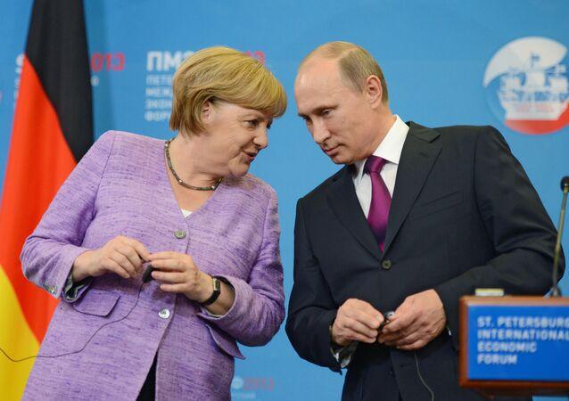 Press conference of Vladimir Putin and Angela Merkel