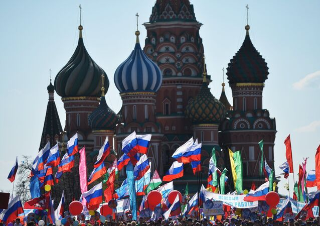Participants in a May 1 demonstration on Moscow's Red Square. (File)