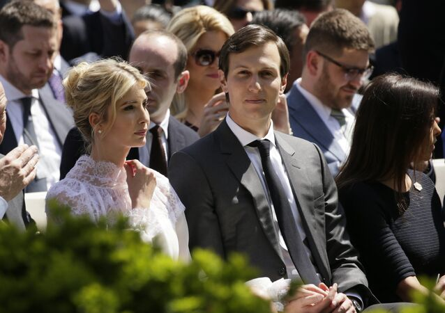 Ivanka Trump and her husband, White House advisor Jared Kushner, sit in the front row for a joint news conference at the White House in Washington, U.S