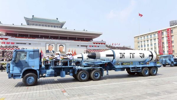 In this Saturday, April 15, 2017, photo distributed by the North Korean government, Polaris submarine launched ballistic missiles (SLBM) are paraded to celebrate the 105th birth anniversary of Kim Il Sung, the country's late founder, in Pyongyang, North Korea. - Sputnik International
