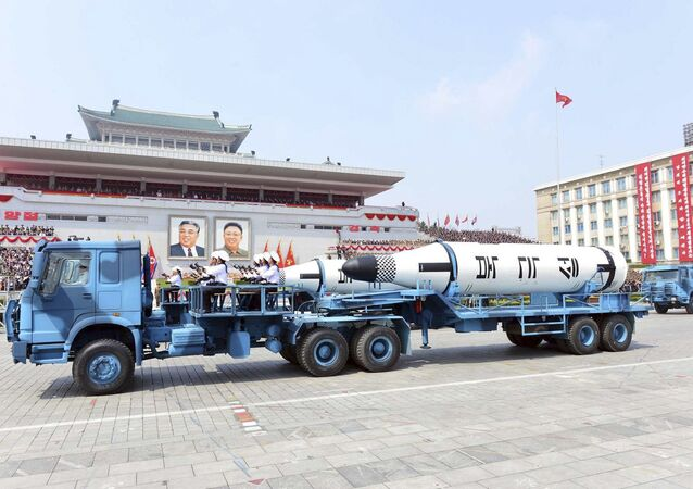 In this Saturday, April 15, 2017, photo distributed by the North Korean government, Polaris submarine launched ballistic missiles (SLBM) are paraded to celebrate the 105th birth anniversary of Kim Il Sung, the country's late founder, in Pyongyang, North Korea.