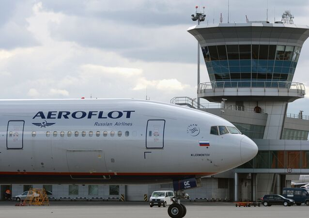 Aeroflot's Boeing 777 at Sheremetyevo international airport.
