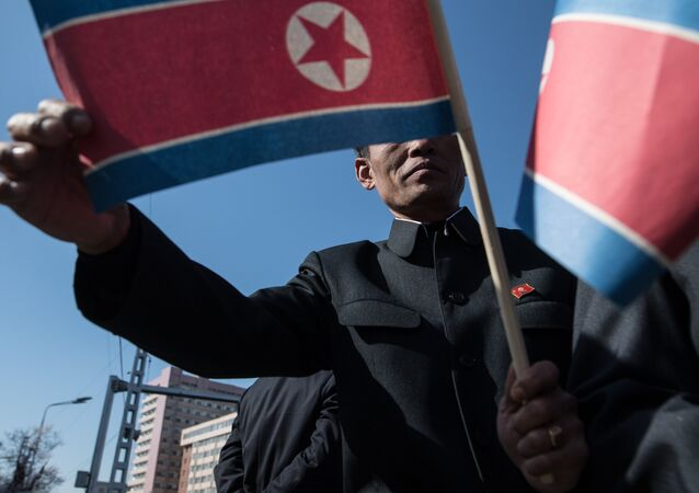 The man holds flag of the Democratic People's Republic of Koreain in Pyongyang. (File)
