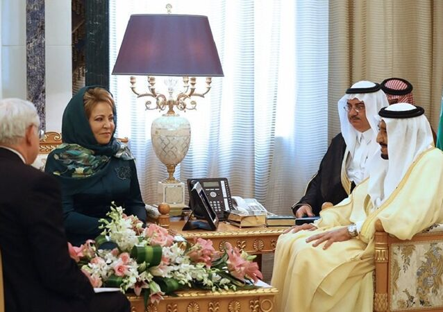 Federation Council Chairperson Valentina Matvienko and Saudi Arabia's King Salman bin Abdulaziz al-Saud