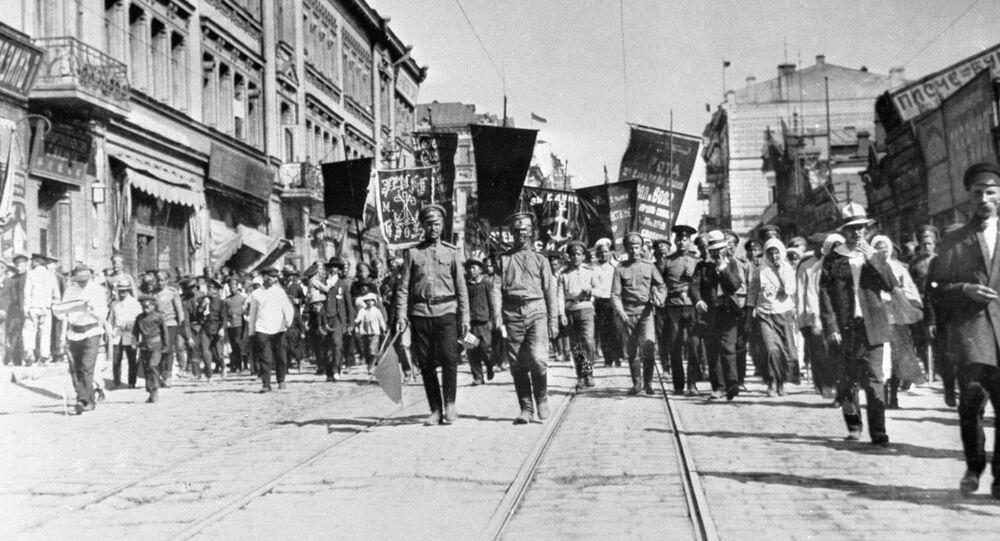 May Day Demonstration in Svetlanovskaya Street of Vladivostok in 1917. (File)