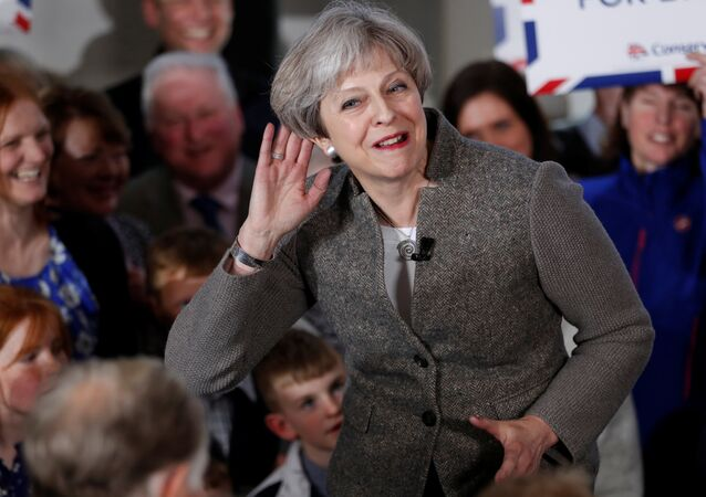 Britain's Prime Minister Theresa May speaks at an election campaign rally near Aberdeen in Scotland, Britain April 29, 2017.