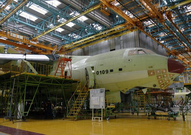 The assembly of an IL-76-90A aircraft at the final assembly shop at the Aviastar-SP aircraft factory in Ulyanovsk. (File)