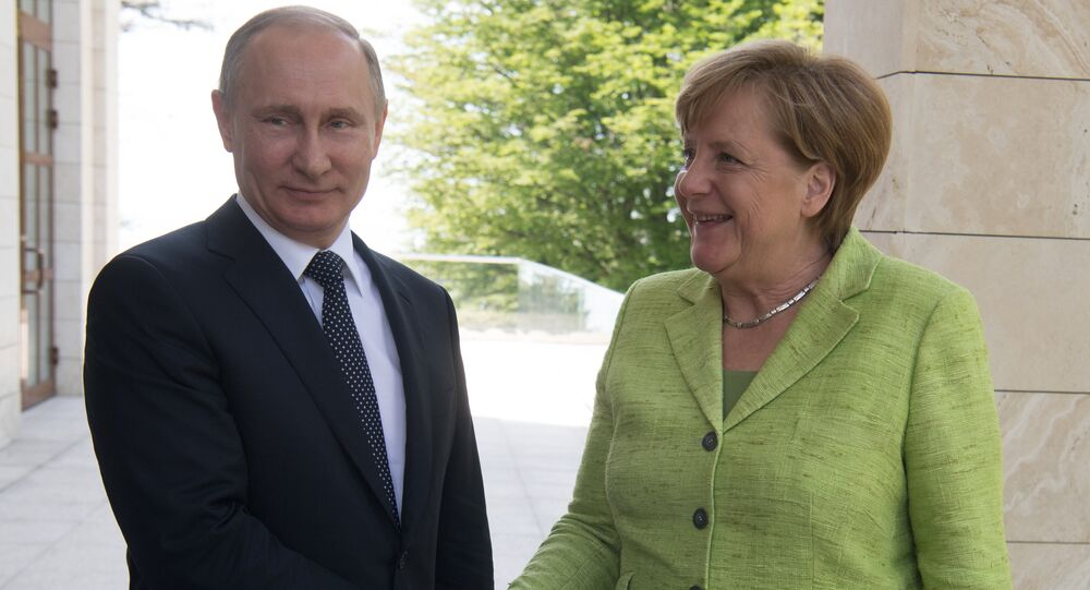 Sochi, Russia. May 2, 2017. Russian President Vladimir Putin meets with German Federal Chancellor Angela Merkel.