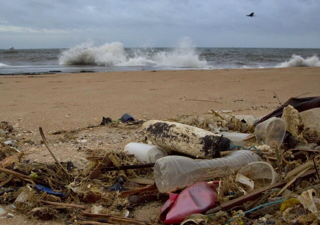 In this 13 August 2015 photo, a plastic bottle lies among other debris washed ashore on the Indian Ocean beach in Uswetakeiyawa, north of Colombo, Sri Lanka.