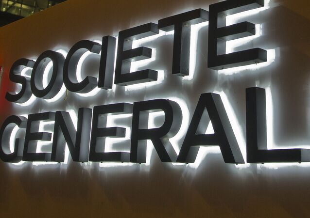 The logo of the Societe General bank is pictured at the business district La Defense, in Paris Wednesday, October 12, 2016.