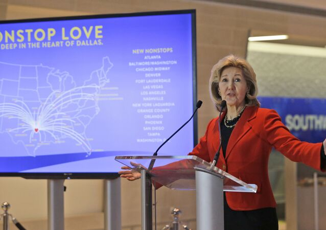 Former US Senator Kay Bailey Hutchison speaks at a news conference at Love Field in Dallas. (File)