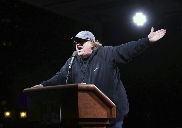 Michael Moore participates in the We Stand United: New York Rally to Protect Shared Values on Thursday, Jan.19, 2017, in New York