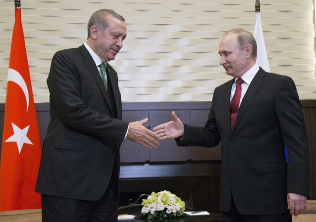 Russian President Vladimir Putin, right, and his Turkish counterpart Recep Tayyip Erdogan shake hands prior to their talks in Putin's residence in the Russian Black Sea resort of Sochi, Russia, Wednesday, May 3, 2017