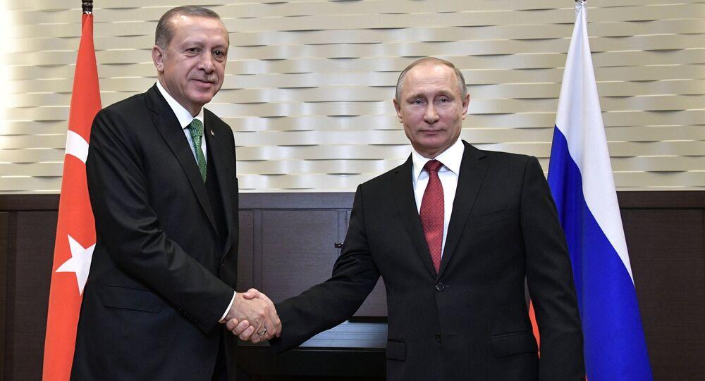President Vladimir Putin at a meeting with President of Turkey Recep Tayyip Erdogan, left