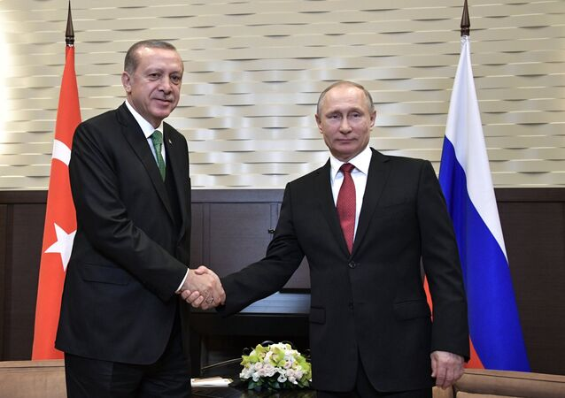 President Vladimir Putin at a meeting with President of Turkey Recep Tayyip Erdogan, left