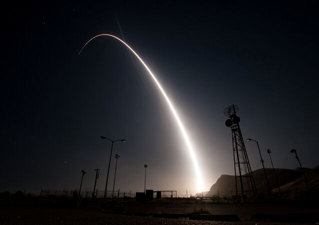 (File) An unarmed Minuteman III intercontinental ballistic missile launches from Vandenberg Air Force Base, California, United States during an operational test at 12:03 a.m., PDT, in this April 26, 2017 handout photo