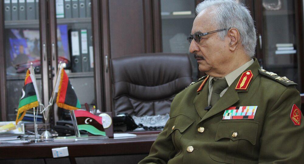 In this March 18, 2015 file photo, Gen. Khalifa Haftar speaks during an interview with The Associated Press in al-Marj, Libya.