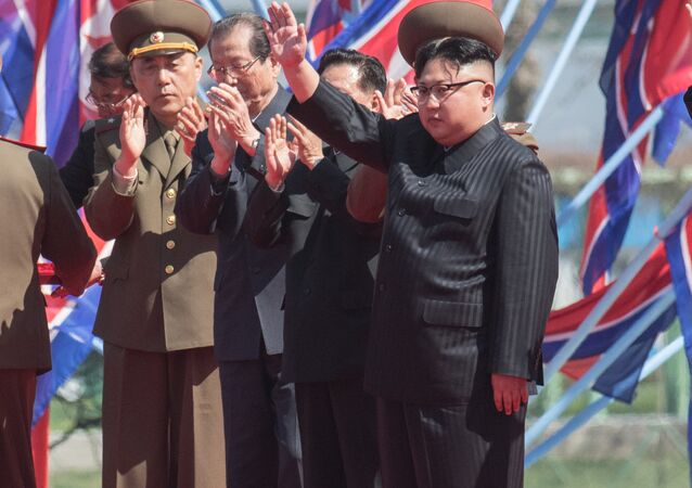 DRPK leader Kim Jong-un at a ceremony to open a new residential area on Ryomyong Street in Pyongyang.