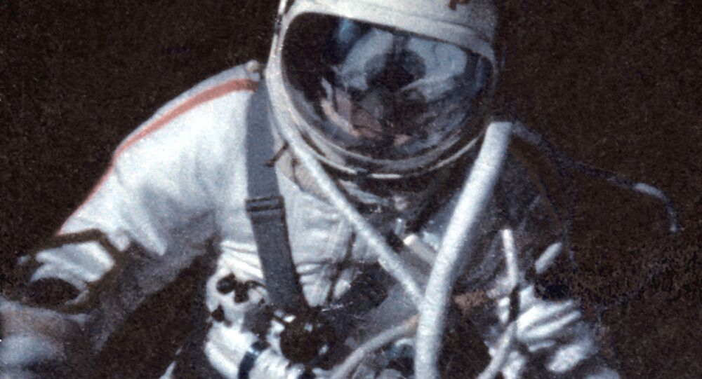 A documentary film frame about Alexey Leonov's first spacewalk in history