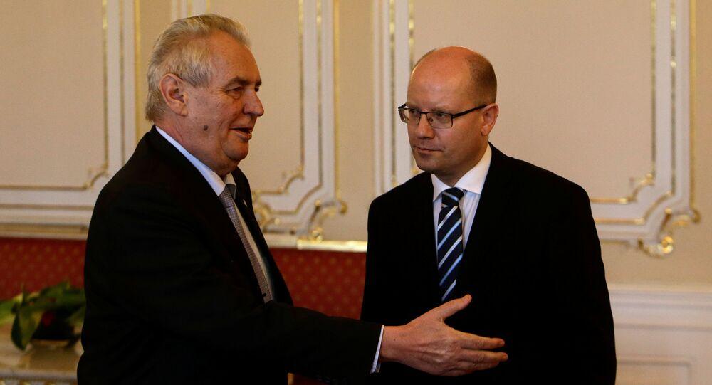 Czech Prime Minister Bohuslav Sobotka meets with President Milos Zeman at Prague Castle in Prague, Czech Republic May 4, 2017