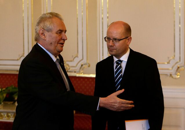 Czech Prime Minister Bohuslav Sobotka meets with President Milos Zeman at Prague Castle in Prague, Czech Republic May 4, 2017