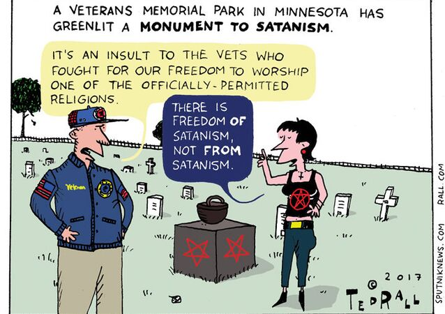Satanic Veteran's Monument Cartoon