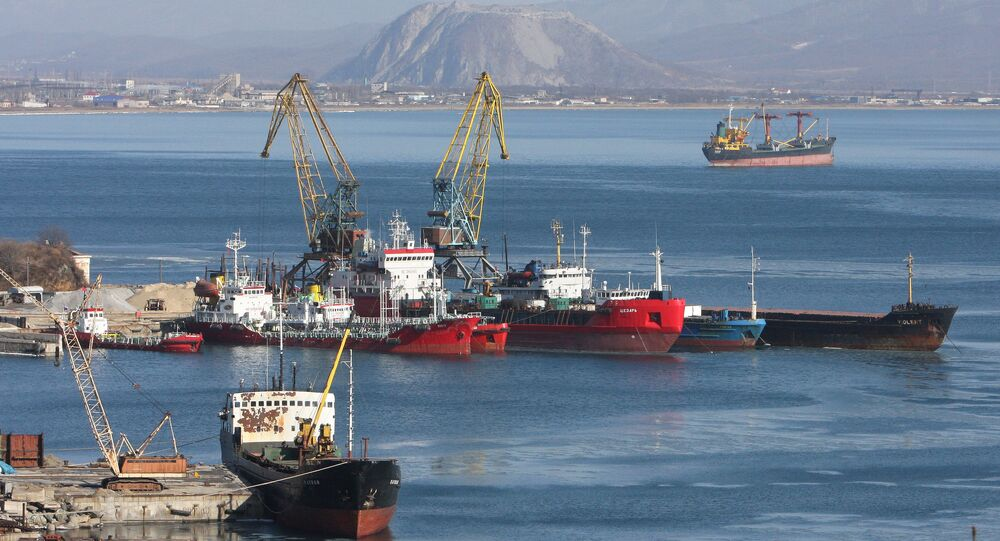 The port of the town of Nakhodka in Russia's Primorye Territory