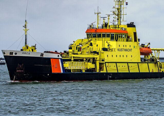 Coast guard ship, port of Rotterdam, Netherlands